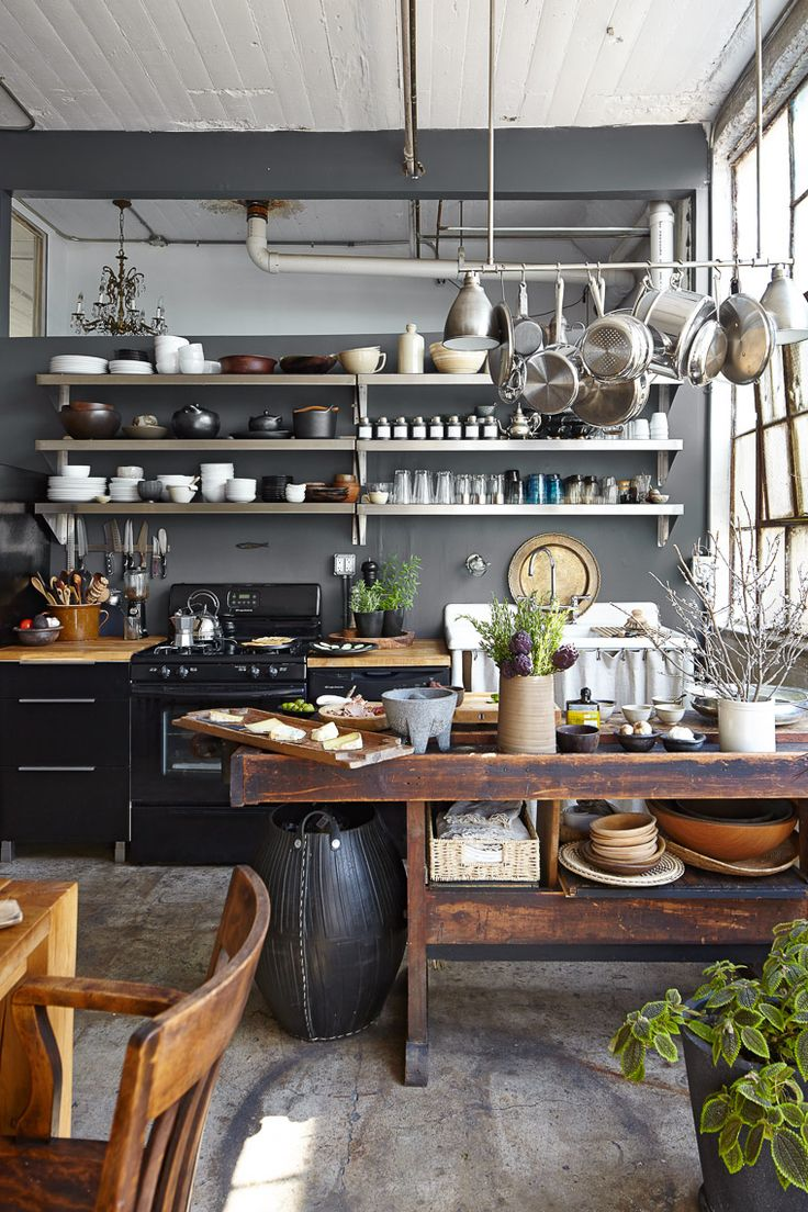 kitchen at the Preciado rustic industrial chic loft in Brooklyn