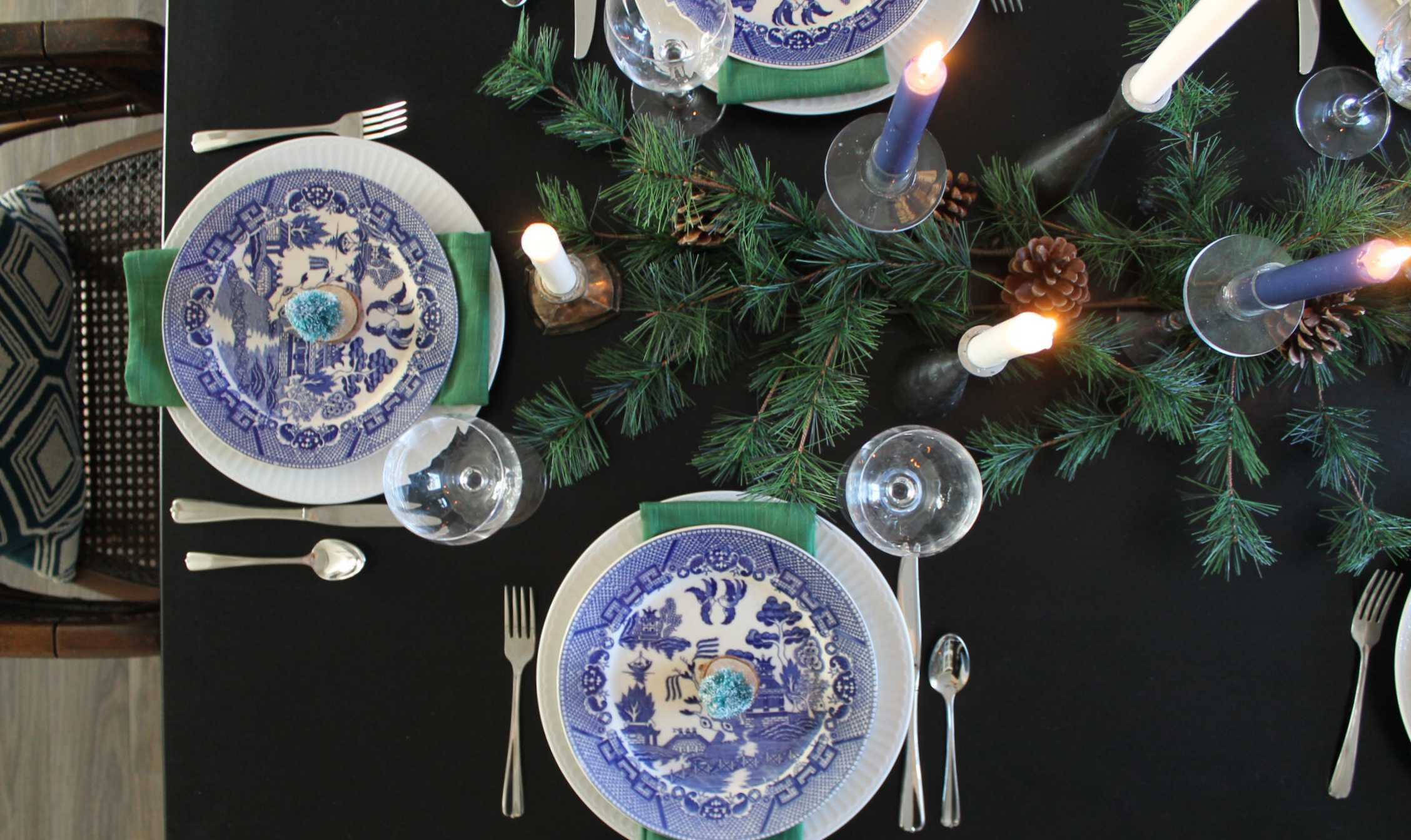 Blue and green table setting - The Hunted & Gathered