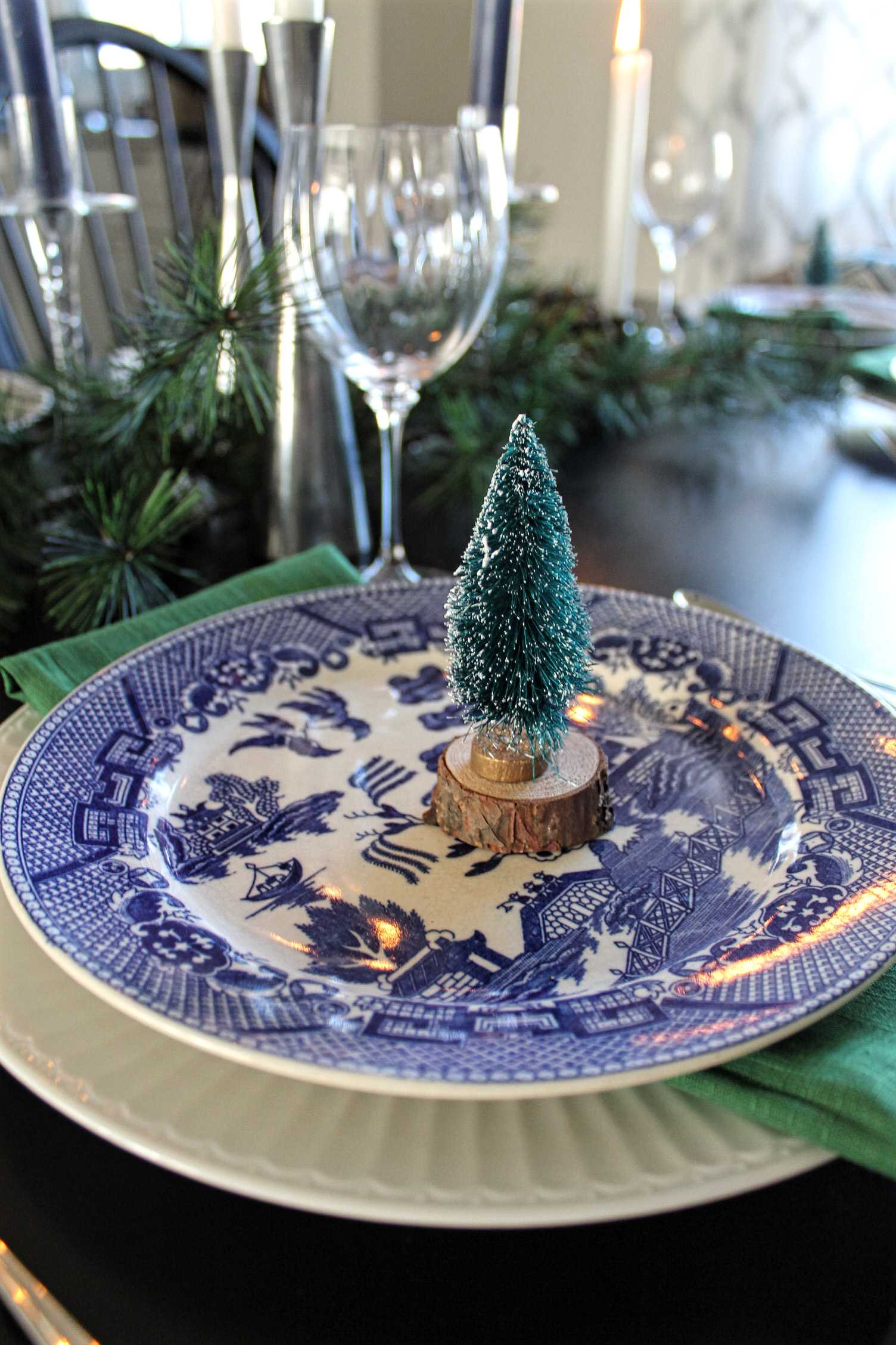 Blue and green table setting with bottle brush trees - The Hunted & Gathered